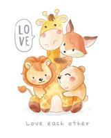 Lovely Animals Hugging Each Other Cartoon Illustration vector