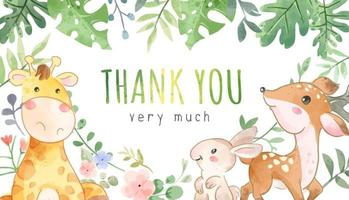 Thank you Banner Sign with Wild Animal Friends Cartoon Illustration vector