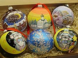 Christmas balls handmade close-up photo