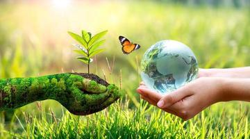 Concept of save the world, save the environment photo
