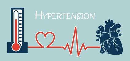 Essential or Primary Hypertension  high blood pressure  sphygmomanometer connect to heart   flat design   NCD concept  Non communicable diseases vector