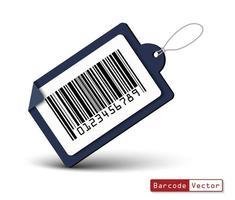 Etiqueta de precio con código de barras sobre fondo blanco. vector