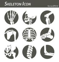 Skeleton icon hand finger  wrist  head  neck  thigh  knee  leg  shoulder  arm  forearm  thorax  ankle  foot  pelvis  hip  backbone  vertebrae   elbow black and white  flat design vector
