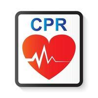RCP reanimación cardiopulmonar corazón e imagen de electrocardiograma ecg para soporte vital básico y soporte vital cardíaco avanzado vector