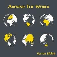 alrededor del mundo contorno del mapa mundial y continente vector