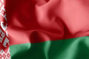 Representación 3D, ilustración, primer plano, bandera, de, bielorrusia, ondulación, en, el, viento, bandera, plano de fondo foto