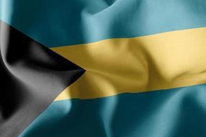 Representación 3D de la ilustración de la bandera de Bahamas ondeando en el fondo de la bandera del viento foto