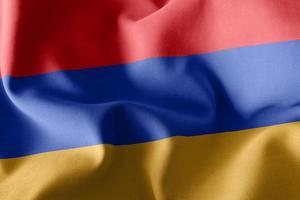 Bandera de ilustración 3d de armenia ondeando en el fondo de la bandera del viento foto