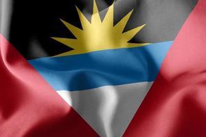 3d bandera de antigua y barbuda ondeando en el fondo de la bandera del viento foto