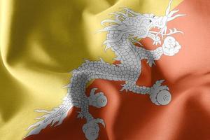 Representación 3D, ilustración, primer plano de la bandera de Bután ondeando en el fondo de la bandera del viento foto