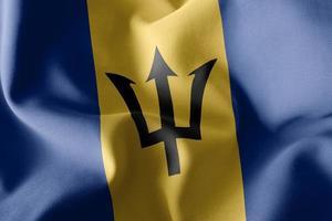 Representación 3D, ilustración, primer plano, bandera, de, barbados, ondulación, en, el, viento, bandera, plano de fondo foto