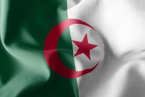 Bandera de ilustración 3d de argelia ondeando en el fondo de la bandera del viento foto