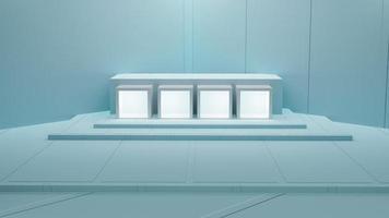 3d rendering of pastel blue merchandise display photo