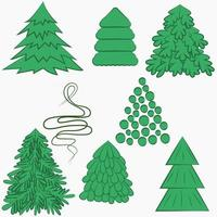 Set of different trees for New Year and Christmas Vector
