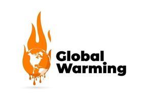 Global warming logo Global warming Earth globe melting vector