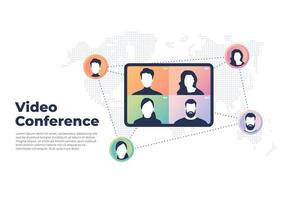 World wide video conference concept Videoconferencing and online meeting banner vector