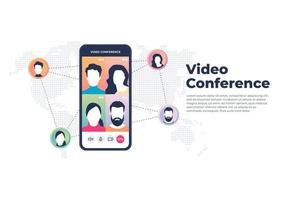World wide video conference on mobile concept Videoconferencing and online meeting banner vector
