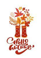tarjeta de felicitación con texto hola otoño y botas de goma rojas. hojas naranjas de arce, follaje de noviembre, roble y abedul, cartel de la temporada de otoño o diseño de pancarta de acción de gracias vector