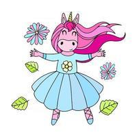 Cute ballerina unicorn vector illustration