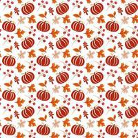 patrón sin fisuras con bellotas, calabaza y hojas de roble otoñal en naranja y marrón. perfecto para papel tapiz, papel de regalo, rellenos de patrones, fondo de páginas web, tarjetas de felicitación otoñales vector