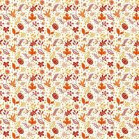 Seamless pattern with acorns, pumpkin and autumn oak leaves in Orange and Brown. Perfect for wallpaper, gift paper, pattern fills, web page background, autumn greeting cards vector