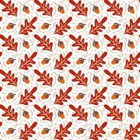 Seamless pattern with acorns and autumn oak leaves in Orange and Brown. Perfect for wallpaper, gift paper, pattern fills, web page background, autumn greeting cards vector