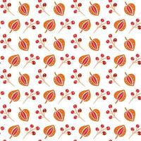 Seamless pattern with autumn leaves and berries in Orange and Brown colors. Perfect for wallpaper, gift paper, pattern fills, web page background, autumn greeting cards vector
