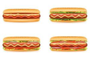 hot dog bun sausage vector illustration isolated on white background