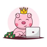 Cute Pig Cartoon With Laptop and Money. Technology Animal Business Finance Concept Vector Illustration