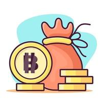 money bag with bitcoin coin isolated cartoon illustration in flat style vector