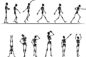 Esqueletos divertidos bailando y caminando concepto ilustración vectorial vector