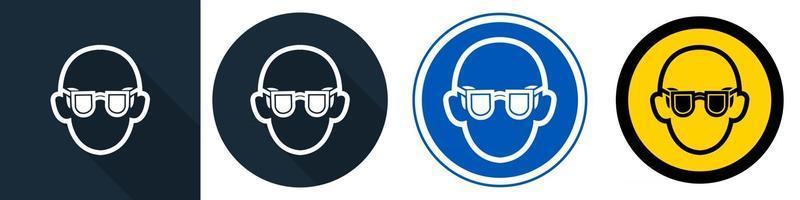 símbolo use gafas de seguridad símbolo vector