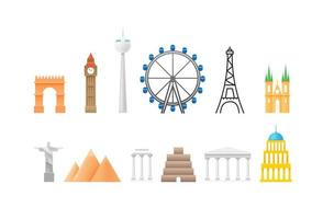 Different world architecture sights isolated on white background vector