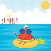 hola cartel de verano vector