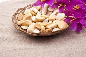 Stones with flowers on beach photo