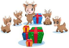 Vector image of Christmas reindeer with colorfully Packed gifts and a girl dressed as a deer