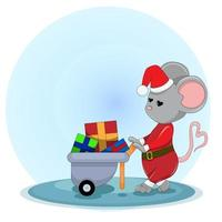 Vector image of a mouse in a Santa Claus costume carries gifts in a cart