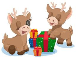 Vector image of Christmas reindeer with colorfully Packed gifts