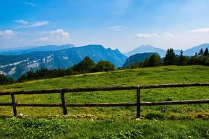 Wooden fence and blue sky photo
