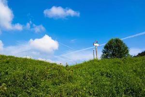 cielo azul y camino verde foto