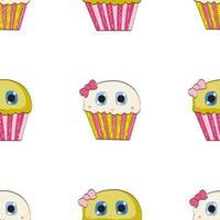 Little Cute Cupcake Seamless Pattern Background vector
