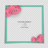 Natural Background Photo Frame Template with Monstera Palm leaves for post in Social Network vector