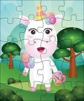 Puzzle game illustration for kids with cute unicorn vector
