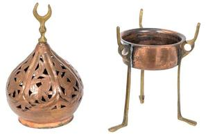 Old oriental incense burner made of copper isolated on white photo