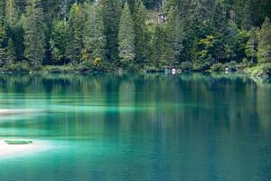 Alpine Lake of Tovel in the Val Di Non, Trento, Italy photo