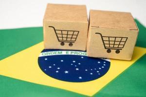 Shopping cart logo with Brazil flag photo