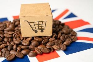 Coffee beans on United Kingdom flag photo