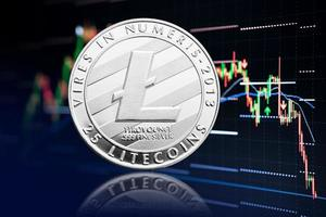 Litecoin coin and stock chart background with price falling Cryptocurrency photo