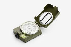 Tactical military compass isolated on white background photo