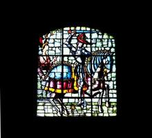 City, Country, MM DD, YYYY - Medieval warrior stained glass window photo